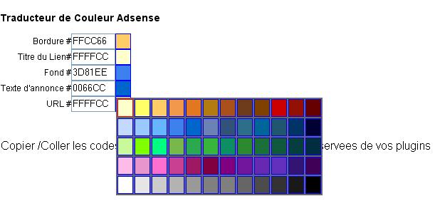 colorpicker adsense couleur choix