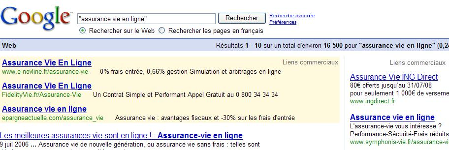 competition google serp