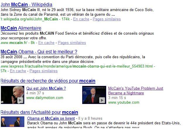 recherche universelle seo mccain