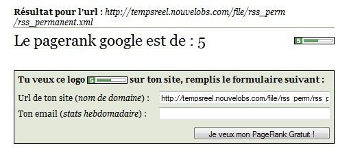 nouvelobs flux rss pagerank